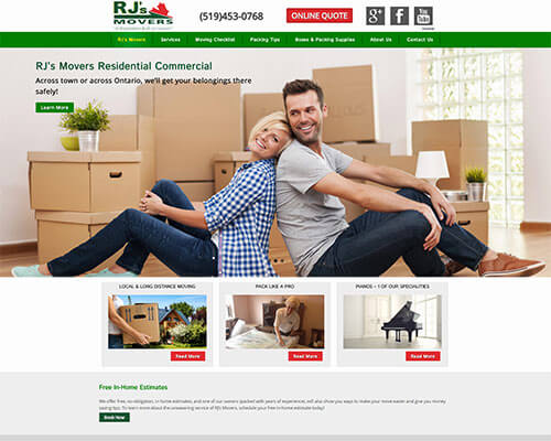 RJ's Movers Mobile Responsive Website Design
