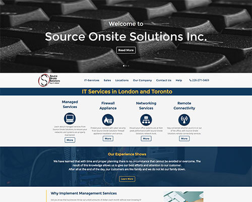 Source Onite Solutions's Website