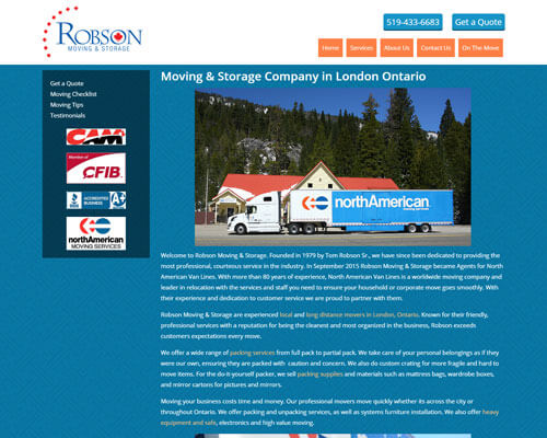 Robson Moving and Storage's Website