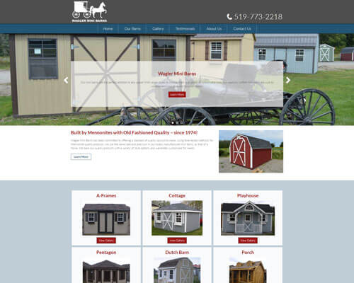 Waglers Mini Barns's Website