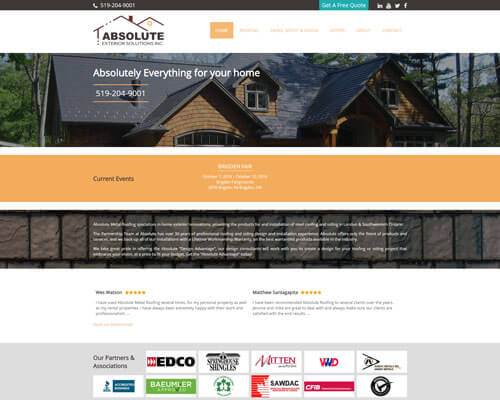 Absolute Metal Roofing's Website