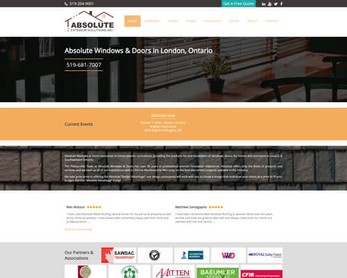 Absolute Windows & Doors's Website