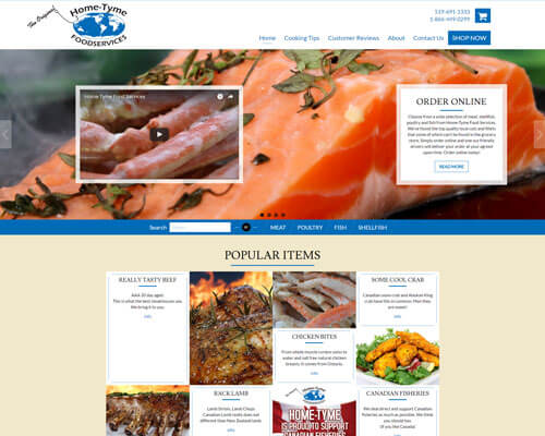 Home-Tyme Food Services Inc's Website