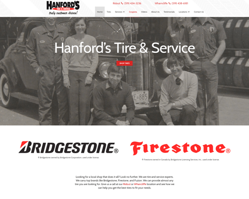 Hanford's Tire & Service's Website
