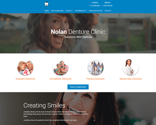 Nolan Denture Clinic's Website