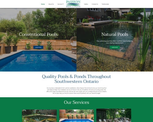 Mobile Responsive Web Design Passion Pool and Pond