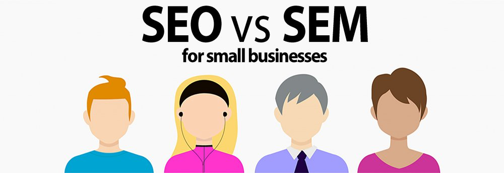 SEO vs SEM for small businesses banner
