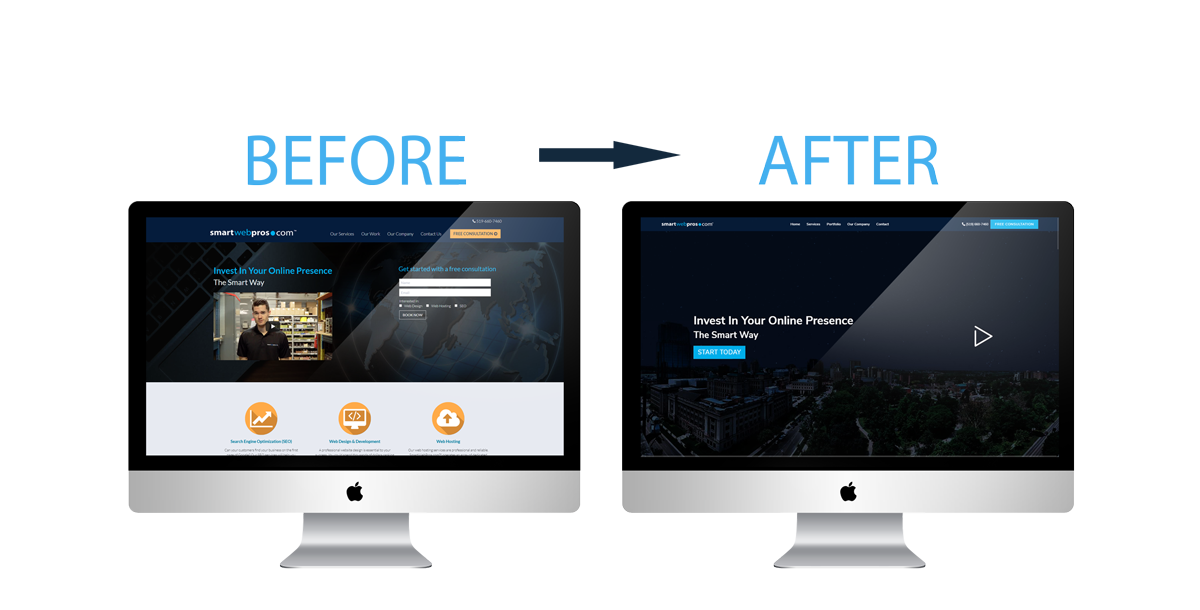 SmartWebPros cutting edge website design before and after