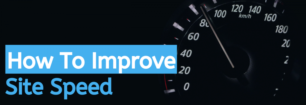 how to improve site speed showing a speedometer