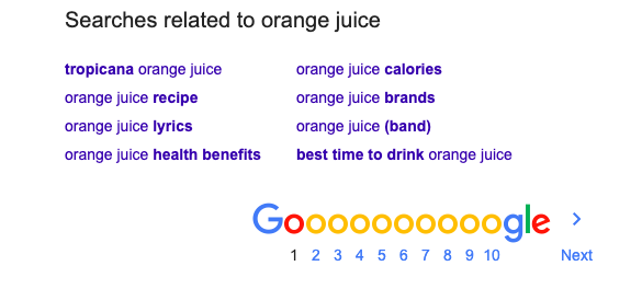 bottom of google search shows lsi keywords