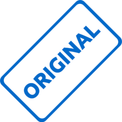 blue rectangular stamp spelling the word 'original'